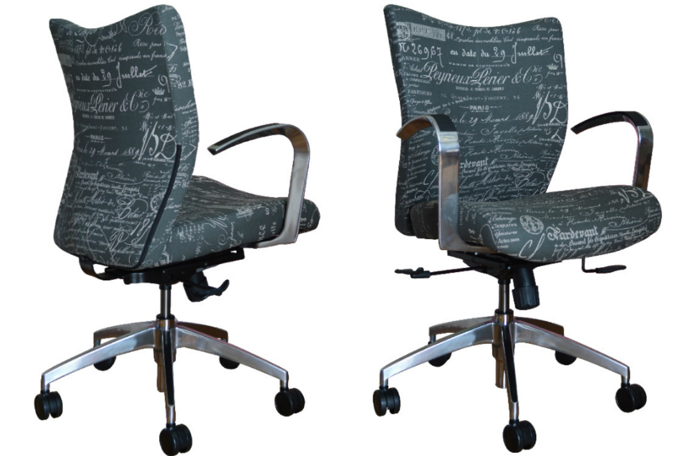 Upholstered desk chair - Our Bristol Office Chair Upholstered In A Gray Script Fabric